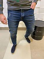 Мужские джинсы синего цвета зауженные с потертостями 31