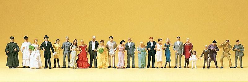 """Набор людей для моделирования макета - """" свадьба с гостями """"количество 24шт, масштаба 1:87.H0 Preiser 14415"""