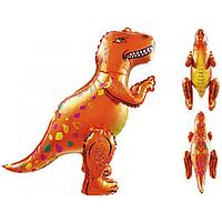 Фольгированный шар ходячая фигура Динозавр 53*64 см оранжевый