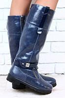Сапожки кожаные синие зимние, без каблука, с пряжкой, евро зима р.38