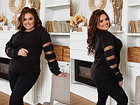 Черный женский красивый ангоровый свитер больших размеров со вставками на рукавах (р.48-54).  Арт-3525/13