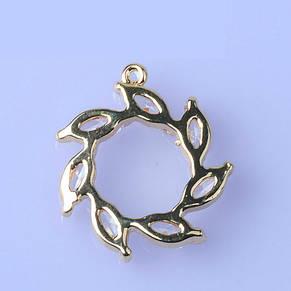 Подвеска с цирконием в виде цветка, 15*16, контур - серебристый метал, фото 2