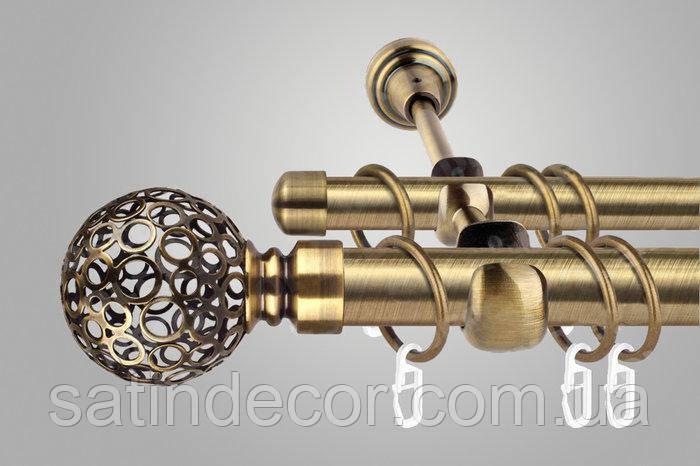 Карниз для штор металевий САВОНА подвійний 25+19 мм 3.2м Античне золото