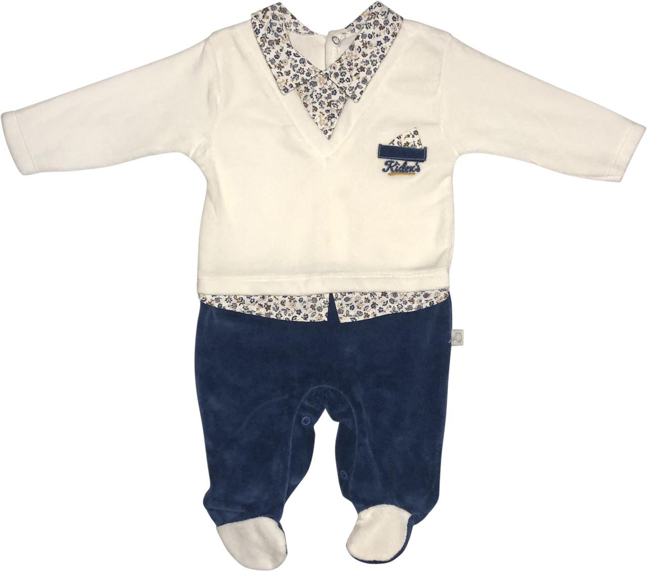 Человечек на выписку мальчика рост 62 2-3 мес для новорожденных малышей слип детский нарядный велюровый синий