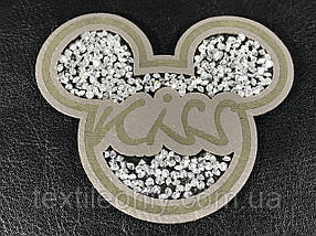 Нашивка Микки / Mickey Kiss стразы 70х60 мм