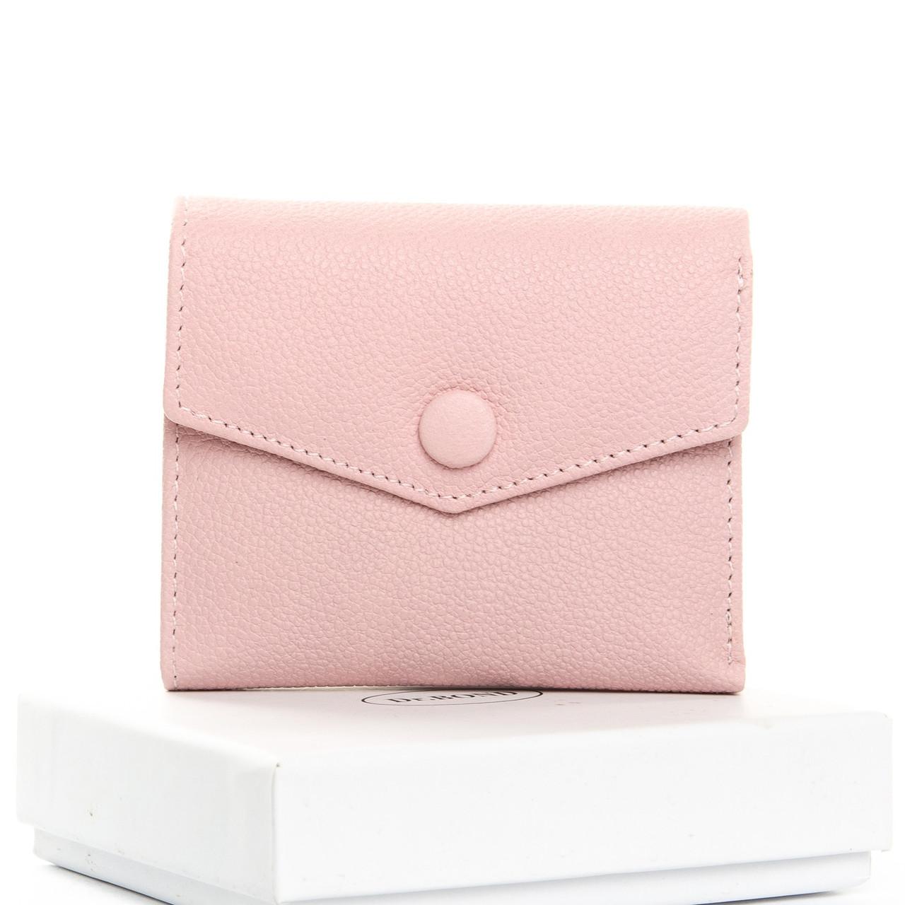 Женский кошелек кожаный на кнопке маленький розовый Dr. Bond WS-20