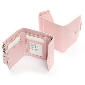 Женский кошелек кожаный на кнопке маленький розовый Dr. Bond WS-20, фото 2