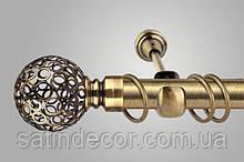 Карниз для штор металлический САВОНА однорядный 25мм 1.8м Античное золото