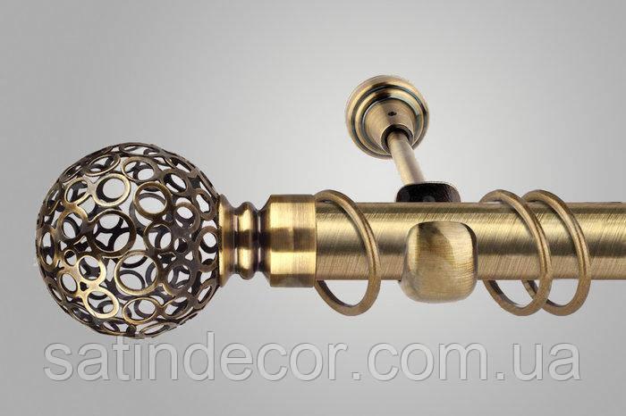 Карниз для штор металлический САВОНА однорядный 25мм 2.0м Античное золото