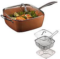 Сковорода универсальная Copper cook deep square pan   Антипригарная сковорода