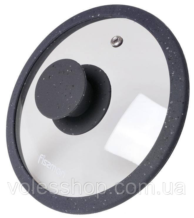 Жаропрочная Крышка стеклянная Fissman ARCADES Ø26см с силиконовым ободом (темно-серый мрамор)