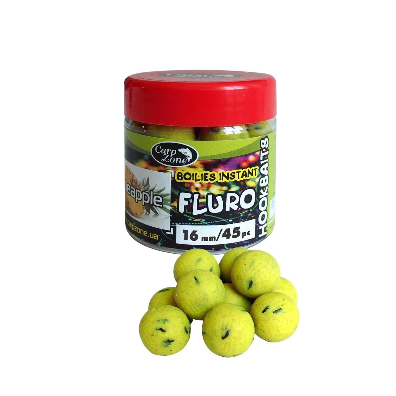 Бойлы насадочные вареные Fluro Boilies Instant Hookbaits Pineapple (Ананас) 14mm/55pc