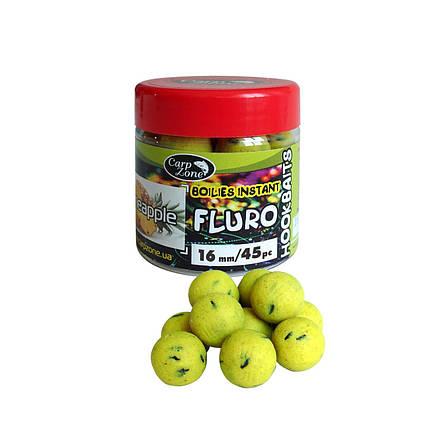 Бойлы насадочные вареные Fluro Boilies Instant Hookbaits Pineapple (Ананас) 14mm/55pc, фото 2