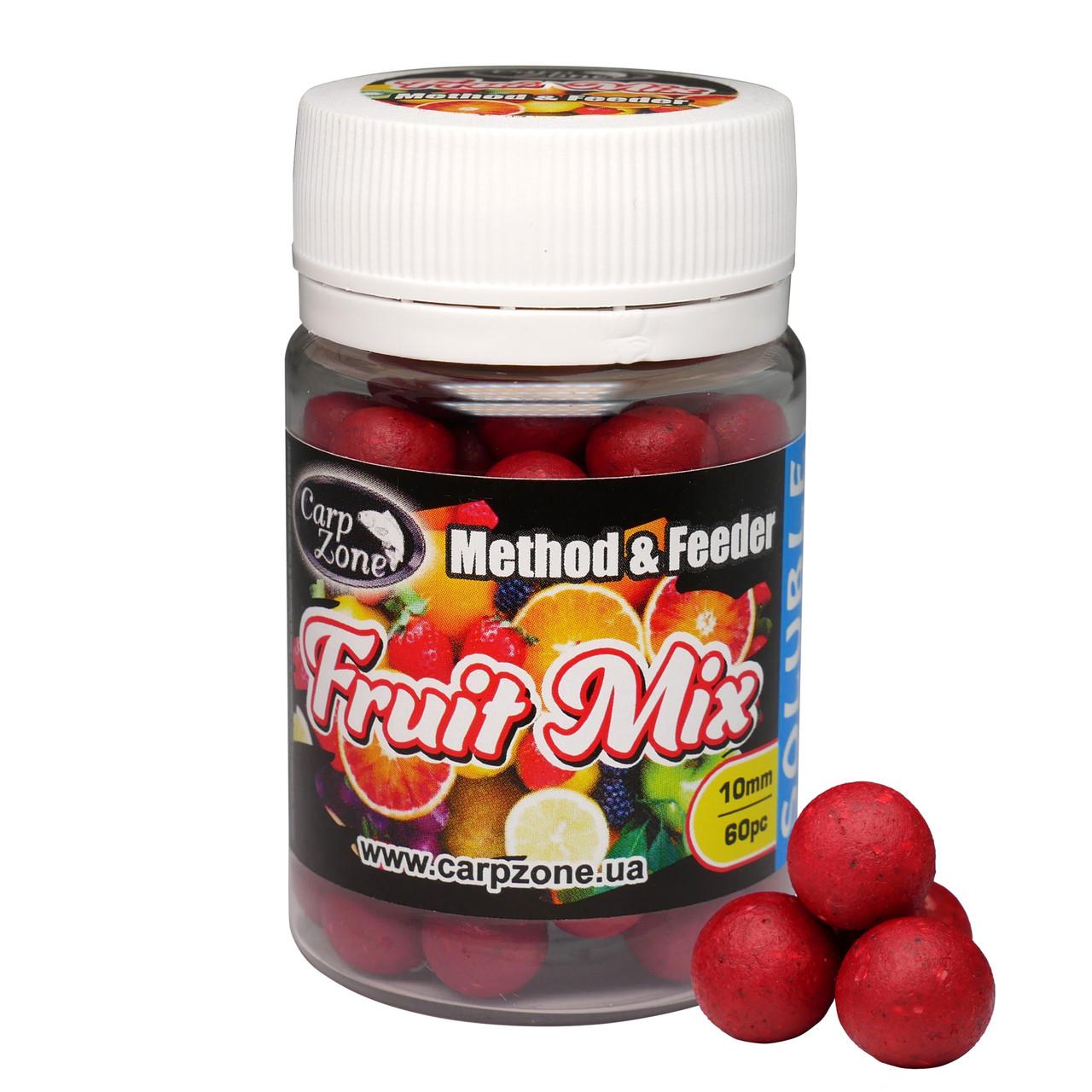 Бойли насадкові порошать Boilies Method & Feeder series Soluble Fruit Mix (Фруктовий мікс) 10mm/60pc