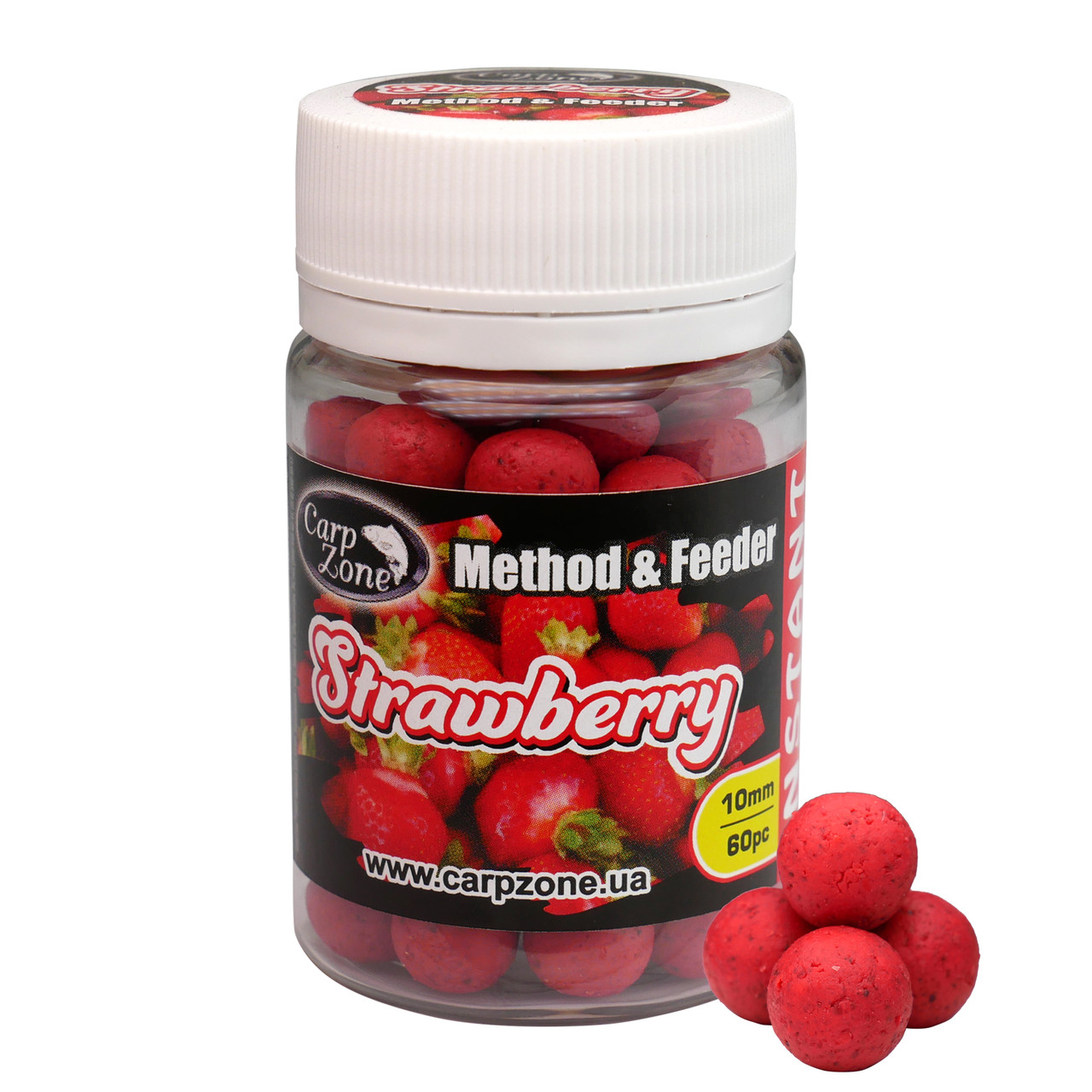Бойлы насадочные вареные Boilies Method & Feeder series Instant Strawberry (Клубника) 10mm/60pc
