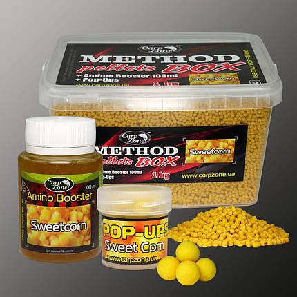 Набор Method Pellets Box Sweet Corn (Сахарная Кукуруза) 3mm/1kg + Amino Booster 100ml + Pop-Ups 8mm/30pc, фото 2