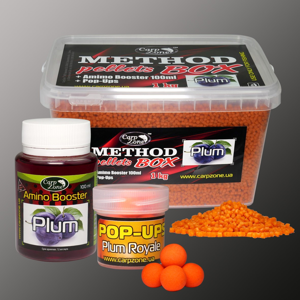 Набор Method Pellets Box Plum (Слива) 3mm/1kg + Amino Booster 100ml + Pop-Ups 10mm/15pc