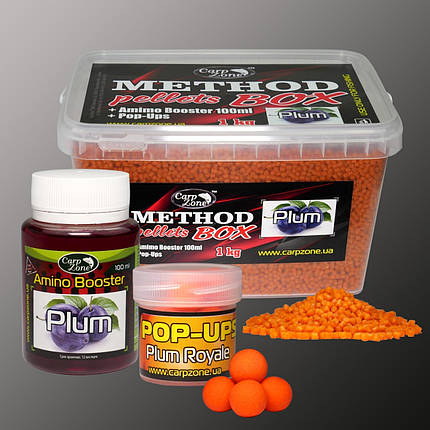 Набор Method Pellets Box Plum (Слива) 3mm/1kg + Amino Booster 100ml + Pop-Ups 10mm/15pc, фото 2
