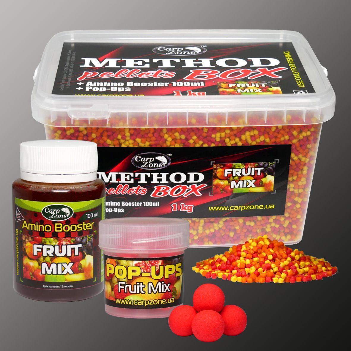 Набор Method Pellets Box Fruit Mix (Фруктовый микс) 3mm/1kg + Amino Booster 100ml + Pop-Ups 10mm/15pc