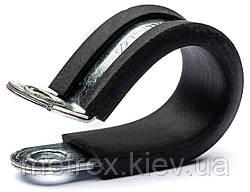 R-Хомут для труб сантехнический d-15 обжимной с резиновой прокладкой DIN 3016
