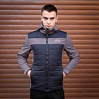 Модная мужская осенняя куртка серо синяя, демисезонная мужская куртка из плащевки