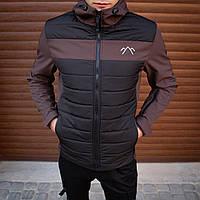 Модная мужская осенняя куртка чорно коричневая, демисезонная мужская куртка из плащевки
