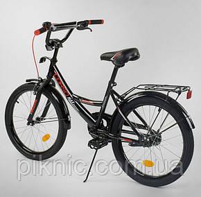 """Велосипед 20 дюймов для детей 6, 7, 8, 9 лет. Детский двухколесный CORSO 20"""" для мальчиков. Черный, фото 2"""