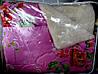 Одеяло из овечьей шерсти Лери Макс двуспальное на малиновом красные розы