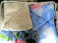 Одеяло из овечьей шерсти Лери Макс двуспальное розовые розы на голубом фоне