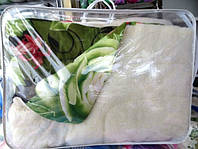 Одеяло шерстяное Лери Макс Евро размера зелёное с цветами