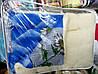 Одеяло шерстяное Лери Макс Евро размера синие с ромашками