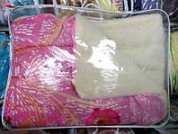 Одеяло из овечьей шерсти Лери Макс полуторное розовое с маками