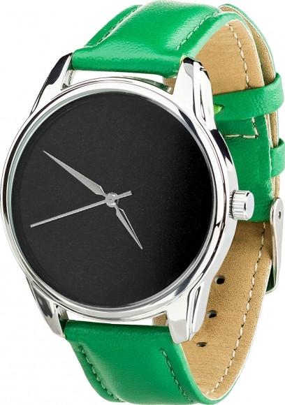"""Часы """"Минимализм черный"""" (ремешок изумрудно - зеленый, серебро) + дополнительный ремешок (4600365)"""