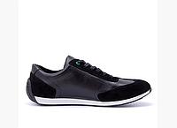 Мужские кожаные кроссовки Lacoste Lerond черные, фото 1