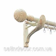 Карниз для штор металевий АРАБЕСКА подвійний 25+19 мм РЕТРО 2.4 м Біле золото
