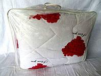 Одеяло из овечьей шерсти полуторное Лери-Макс на белом сердца