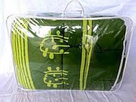 Одеяло Евро размера из овечьей шерсти Лери Макс Gold абстракция на зелёном