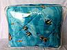 Одеяло Евро размера из овечьей шерсти Лери Макс Gold синее с рыбками