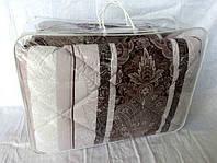 Одеяло Евро размера из овечьей шерсти Лери Макс Gold бежево-коричневые полосы