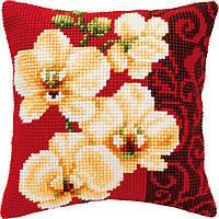 """PN-0008790 Набор для вышивания крестом (подушка) Vervaco """"Белая орхидея"""""""