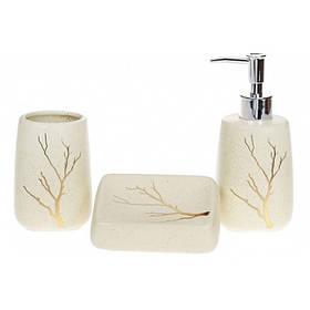 Набор для ванной комнаты Золотая ветвь 3 предмета (дозатор, стакан, мыльница) BonaDi 851-273