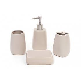 Набор для ванной комнаты бежевый 4 предмета (дозатор, подставка для зубных щеток, стакан, мыльница) BonaDi
