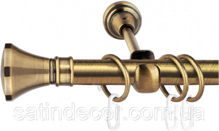 Карниз для штор металлический ЛЮКСОР однорядный 16 мм 2.0м Античное золото