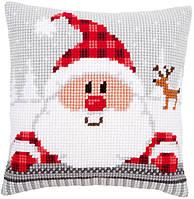 """PN-0148061 Набор для вышивания крестом (подушка) Vervaco """"Санта в клетчатой шапке"""""""