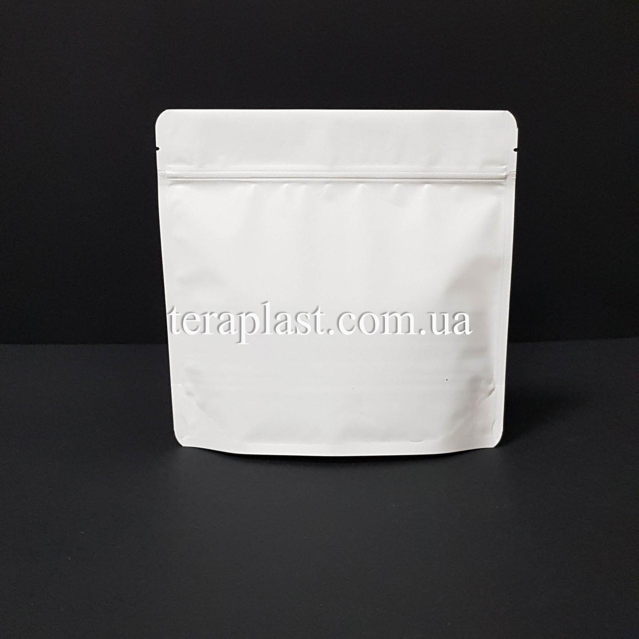 Дой-Пак 300г белый 200х190х36 зип с тактильным лаком Soft-touch
