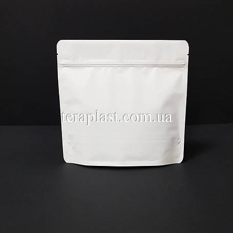 Дой-Пак 300г белый 200х190х36 зип с тактильным лаком Soft-touch, фото 2