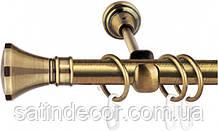 Карниз для штор металлический ЛЮКСОР однорядный 16 мм 2.4м Античное золото