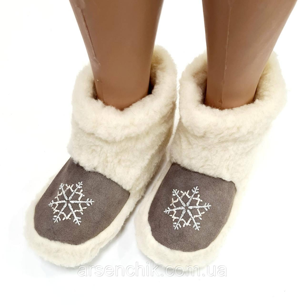 """Чуні з овчини сніжинка на гумовій підошві """"Polmar"""""""