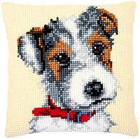 PN-0169611 Набір для вишивання несчетний хрест (подушка) 40х40, Dog with red collar Vervaco