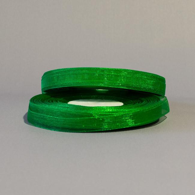 Лента органза 9 мм зеленый за 5 м